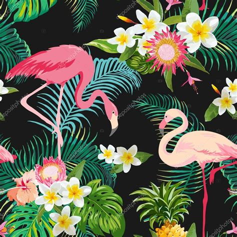 tropical flower background tropical flowers and birds background vintage seamless