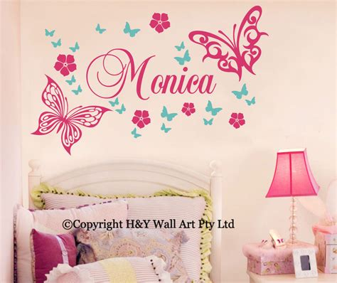 Butterfly Wall Decals For Nursery Butterfly Flowers Custom Personalised Name Wall Stickers Kid Nursery Decor Ebay