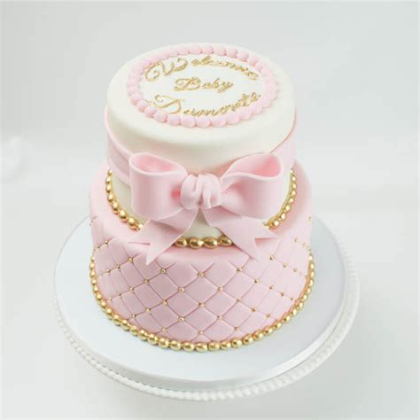 Pink And Yellow Baby Shower Cake by Baby Shower Cakes Blue Lace Cakes