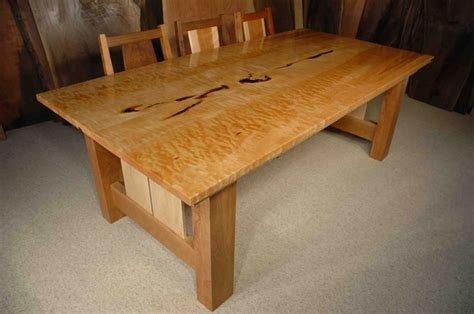 7' Custom Quilted Maple Dining Table: Dumond's Custom Furniture