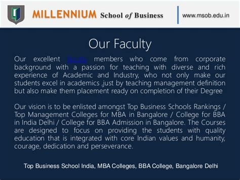 Mba In Entrepreneurship In Bangalore by Millennium School Of Business Msob Top Business