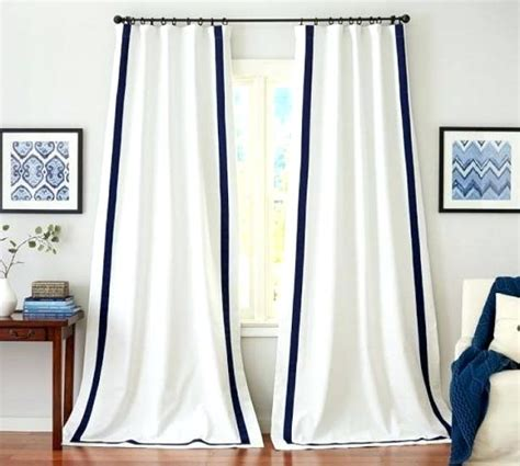 white curtains blue trim white curtains with navy blue trim curtain ideas