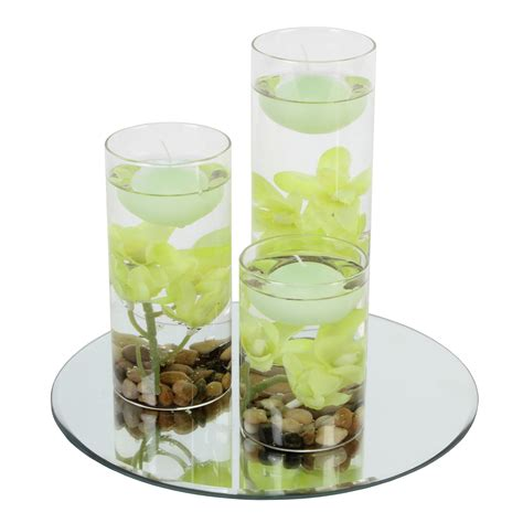 Floating Candle Vases by Glass Mirror Plate Floating Candles Vase Set Flower
