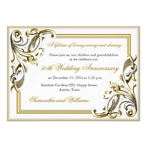 golden anniversary invitations templates golden wedding anniversary invitations 5 quot x 7 quot invitation