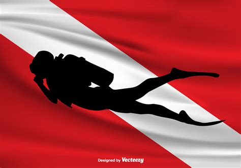 dive flag vector dive flag and diver icon free vector