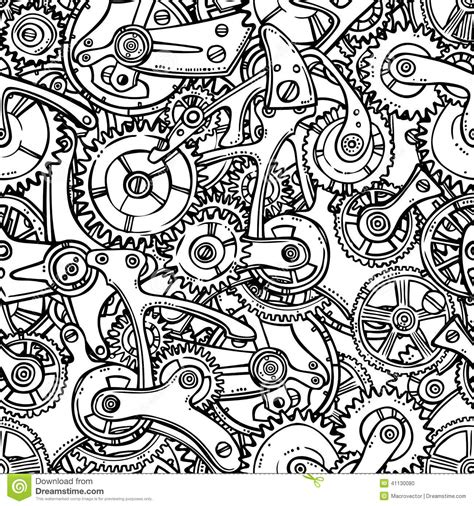 sketch make pattern gears lightbulb sketch stock vector illustration of
