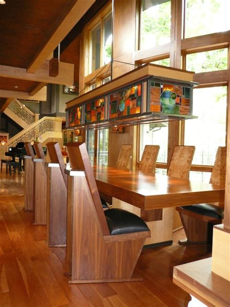 custom dining table chairs light fixture eclectic