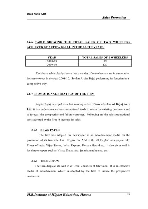 bajaj auto finance two wheeler interest rates a study on promtion activities conducted at arpita bajaj