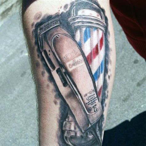 barber pole tattoo designs 100 barber tattoos for masculine design ideas
