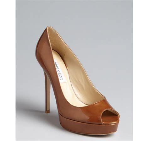 jimmy choo tan suede meringue platform peep toe pumps in lyst jimmy choo tan patent leather crown peep toe