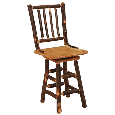 Hickory Counter Stools by Hickory Spoke Back 24 In Swivel Bar Stool The Log Furniture Store
