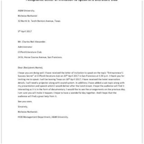 Acceptance Letter Into A Club Formal Official And Professional Letter Templates Part 2