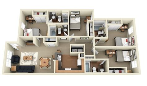 4 bedroom flat floor plan 50 four 4 bedroom apartment house plans architecture
