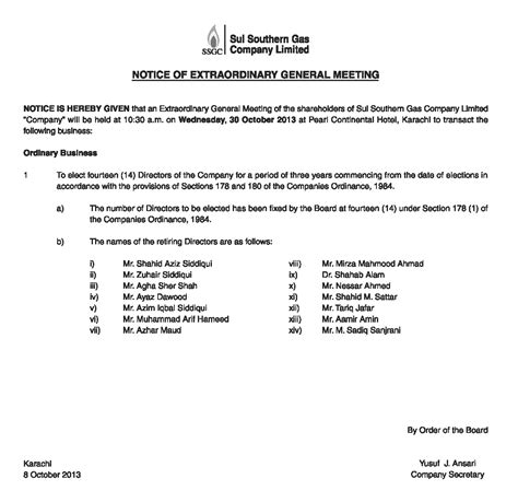 extraordinary general meeting minutes template notice of extraordinary general meeting sui southern gas