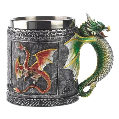 dragon coffee cup vintage resin and stainless steel drinking mug 3d flying