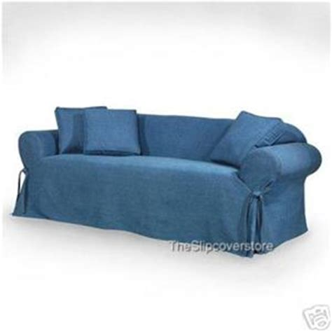 blue slipcover sofa new blue jean denim like sofa loveseat slipcovers ebay