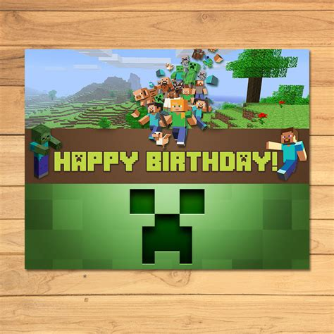 Minecraft Happy Birthday Pictures minecraft birthday sign green blocks by monkstavern on