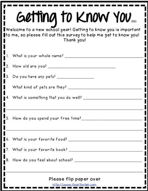 15 best images of middle school getting to you worksheet get to you questions for