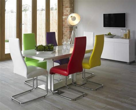 White Dining Table And Coloured Chairs 17 Creative Ways To Refresh Your Dining Room With Multicolored Chairs