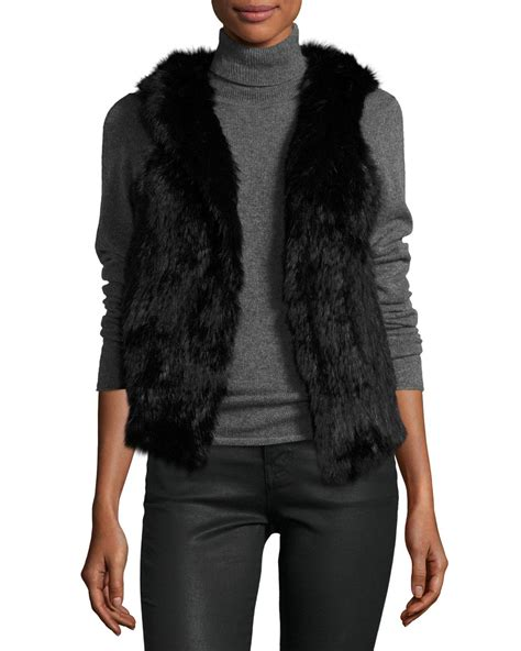 Hem Rabbit Atasan Wanita Blouse 139 525 america hooded rabbit fur vest in lyst