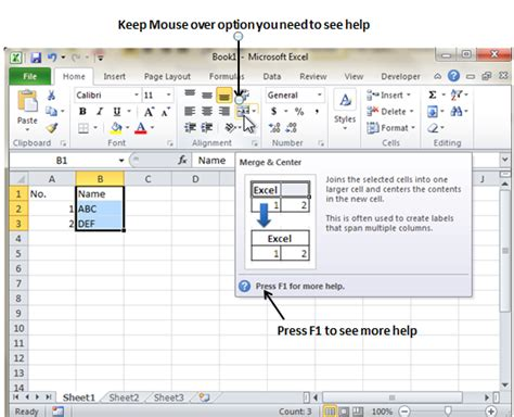 tutorialspoint excel context help in excel 2010