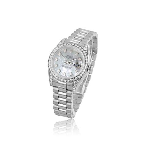 rolex pre owned womens 18ct white gold rolex