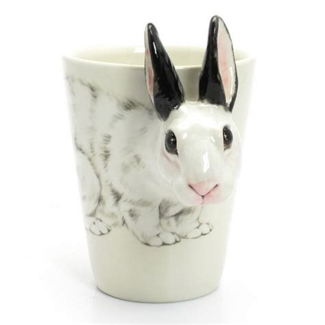 bunny ceramic mug rabbit lover handmade gift home