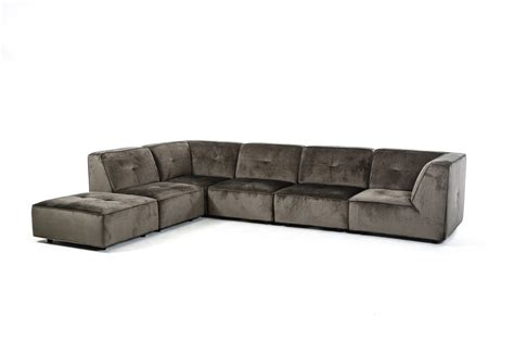 divani casa freesia modern grey fabric sectional sofa