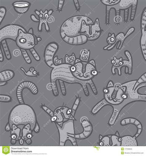 doodle jump x2 doodle cats seamless background stock vector image 17159644
