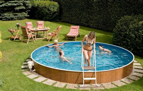 Backyard Above Ground Pool Backyard Decoration Ideas With Swimming Pools Above Ground And Wooden Garden Furniture For
