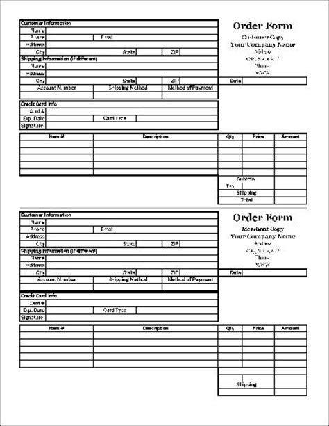 duplicate order form free easy copy small detailed order form with duplicate