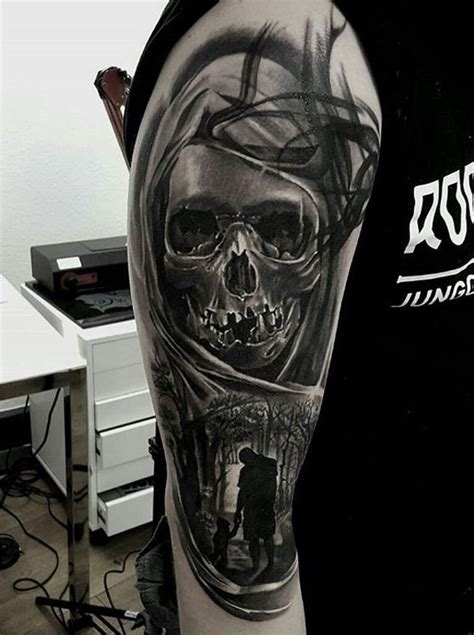 black and white skull tattoos 40 awesome skull designs