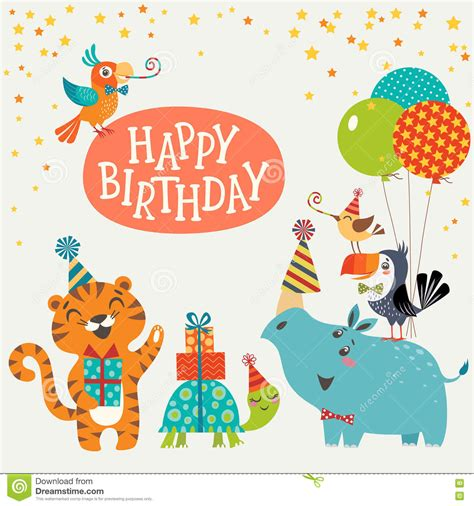 animal birthday card template jungle animals happy birthday card stock vector