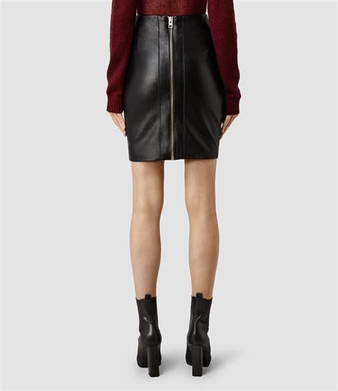 allsaints lucille leather skirt in black lyst