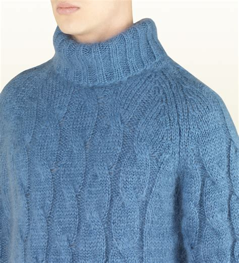 mens knit turtleneck sweater lyst gucci blue cable knit turtleneck sweater in blue