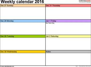 one week calendar template excel weekly calendar 2016 for pdf 12 free printable templates