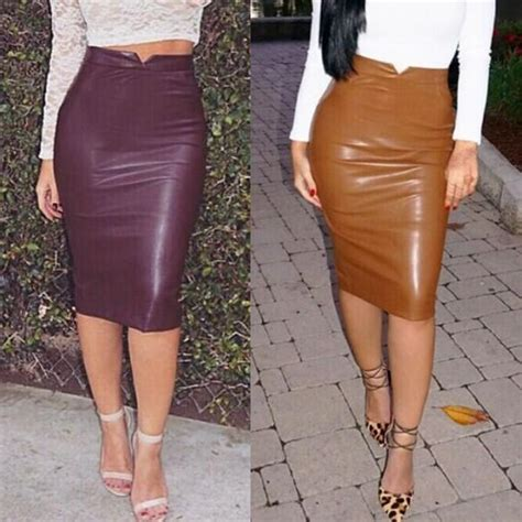 Dress Rajut Bodycon faux leather high waist casual pencil skirt
