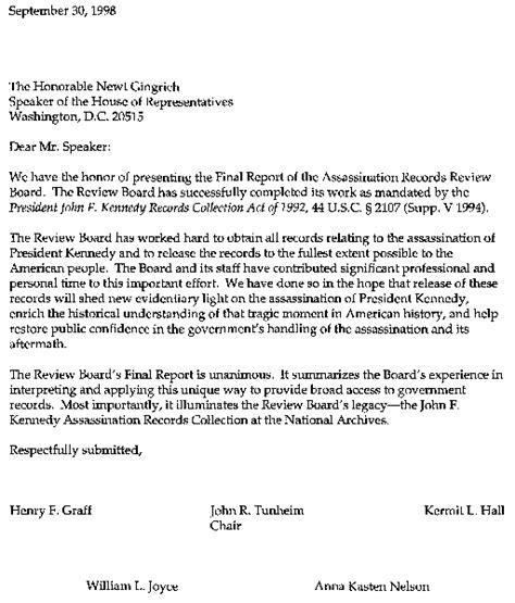 Transmittal Letter Sle For Research Paper Report Of The Assassination Records Review Board Front Pages