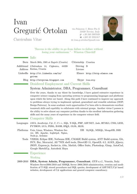 exle cv resume resume exles exle of resume latex