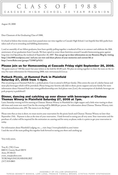 Invitation Letter Format For Reunion cascade high school class of 1988 20 year reunion page 5