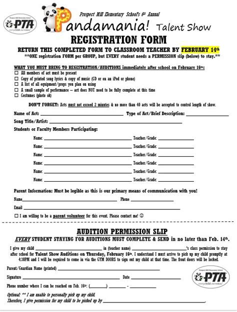 talent show registration form template storks