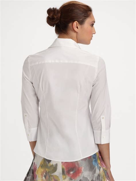 Carolina Blouse carolina herrera threequarter sleeve blouse in white lyst