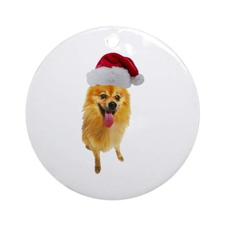 pomeranian christmas ornament round by cafepets
