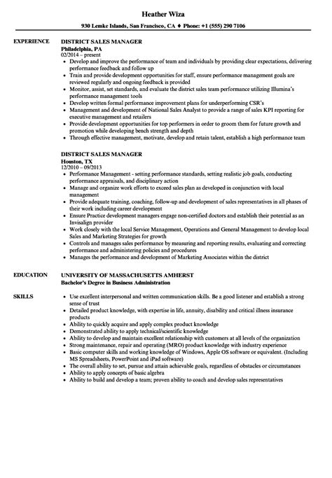 district manager resume exles district sales manager resume resume ideas