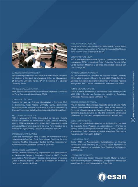 Mba In Information Systems Canada by Mba Tiempo Parcial En Regiones Esan 2012