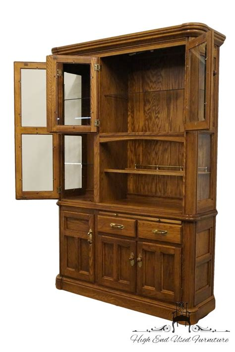 Solid Oak China Cabinet by Richardson Brothers Solid Oak 58 Lighted China Cabinet Ebay