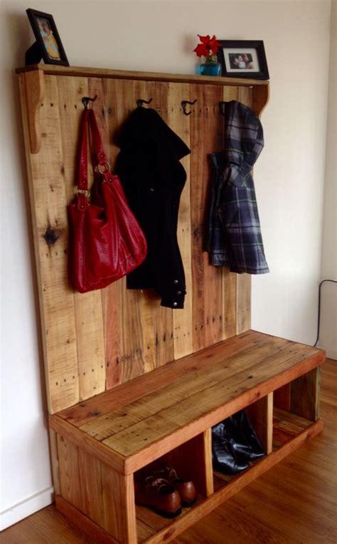 pallet wood coat hanger bench pallets pinterest