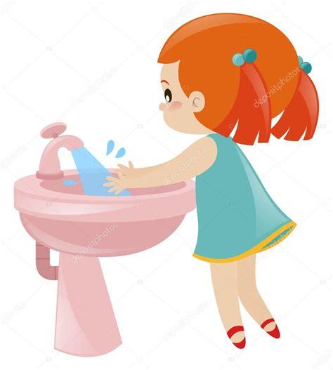 imagenes animadas lavandose las manos chica lavarse las manos en el fregadero vector de stock