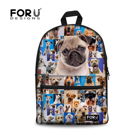 pug print backpack forudesigns backpacks for animal pug print children backpack
