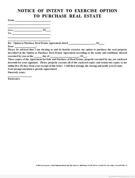 Letter Of Intent To Exercise Lease Option Notice Of Intent To Exercise Option Real Estate Forms